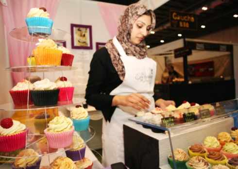 A cupcake stall at the UK's first Halal Food Festival at London ExCel.