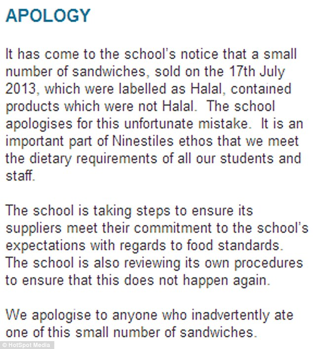 The statement on the school's website highlights its culturally diverse student body, apologising for the 'unfortunate mistake' which Ms Quinn later put down to 'human error'
