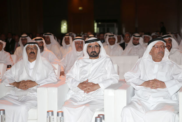 Shaikh Mohammed, Shaikh Hamdan, Shaikh Maktoum, Shaikh Majid, other Shaikhs and business leaders at the ceremony for 'Dubai – World Capital of Islamic Economy' initiative.in Dubai on Saturday. — Wam (www.sheikhmohammed.ae)
