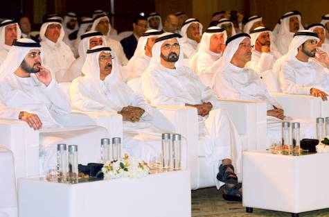 Shaikh Mohammad (centre) along with other dignitaries and officials at the launch of Islamic Economic Strategy on Saturday. Image Credit: Virendra Saklani/Gulf News
