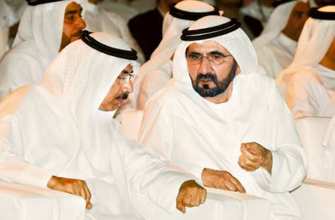 Shaikh Mohammad with Federal National Council Speaker Mohammad Al Murr at the launch of Islamic Economic Strategy on Saturday. Image Credit: Virendra Saklani/Gulf News