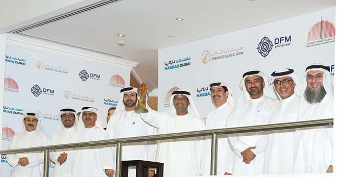 Shaikh Ahmad Bin Saeed Al Maktoum, President of Dubai Civil Aviation and Chairman and CEO of Emirates airline and Group, rings the bell to launch the listing of two Emirates Islamic Bank sukuk worth a total of Dh3.67 billion on Nasdaq Dubai.