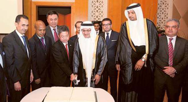 Dr Humaid Al Qattami, Minister of Education, and Daisuke Matsunaga, Consul General of Japan, cut a cake to celebrate the Japanese emperor's birthday at the Grand Hyatt. Image Credit: Atiq-Ur-Rehman/Gulf News