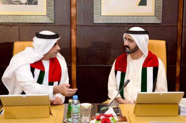 Shaikh Mohammad and Shaikh Saif at the cabinet meeting yesterday. Image Credit: WAM