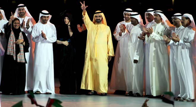 Shaikh Mohammed with Shaikh Hamdan, Foreign Minister Shaikh Abdullah, Shaikh Ahmed bin Saeed Al Maktoum and Minister of State Reem Ibrahim Al Hashemi during a ceremony in Downtown Dubai on Sunday to felicitate the Expo 2020 team. — KT photo by Rahul Gajjar