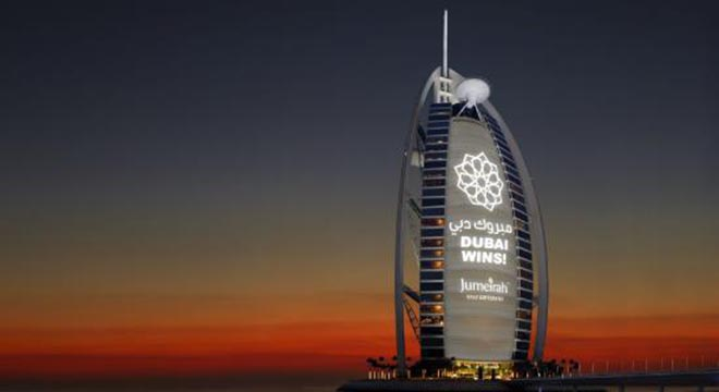 Picture of the Burj Al Arab Jumeirah announcing Dubai as hosts for the 2020 World Expo