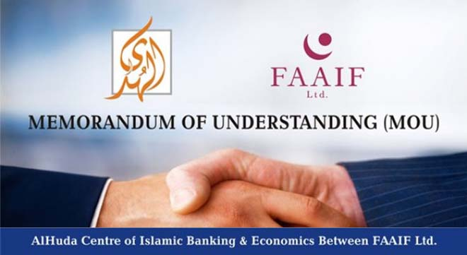 A Memorandum of Understanding (MoU) has been signed between Al Huda Centre of Islamic Banking and Economics (CIBE) and Franco-American Alliance for Islamic Finance (FAAIF) to cooperate in the development of Islamic banking and finance in France and the United States.