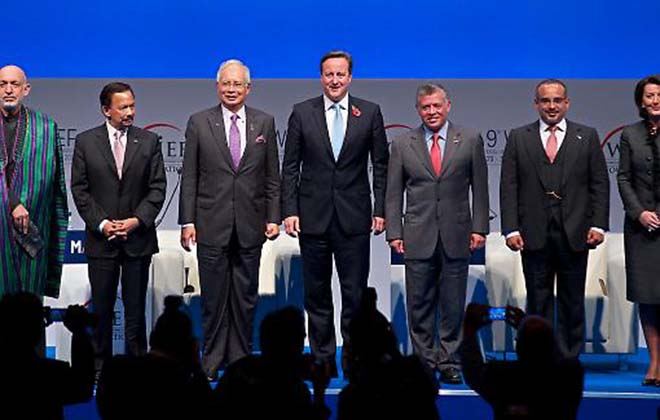 Left to right: Hamid Karzai, Hassanal Bolkiah, Najib Razak, David Cameron, King Abdullah II, Prince Salman bin Hamad al-Khalifa and Atifete Jahaga at the 9th World Islamic Economic Forum in London. Photograph: Getty Images.