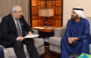 Sheikh Mohammed bin Rashid receiving Dr. Klaus Topfer on Tuesday.