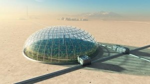 A futuristic greenhouse in the desert