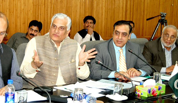 Federal Minister for Science and Technology Zahid Hamid announcing plans for setting up Pakistan Halal Authority (PHA) in peshawar during a function of Khyber Pakhtunkhwa Chamber of Commerce and Industry
